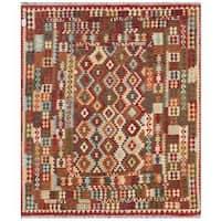 Herat Oriental Afghan Hand-woven Tribal Wool Kilim - 8'2 x 9'7