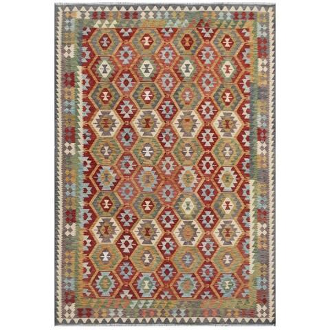 Handmade One-of-a-Kind Wool Kilim (Afghanistan) - 7'10 x 11'5