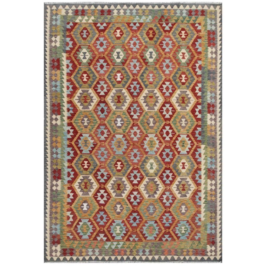 Handmade Herat Oriental Afghan Tribal Wool Kilim (Afghanistan) - 710 x 115 (Red - 710 x 115)