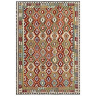 Herat Oriental Afghan Hand-woven Tribal Kilim Red/ Green Wool Rug (7'10 x 11'5)