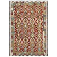 Handmade Herat Oriental Afghan Tribal Wool Kilim (Afghanistan) - 7'10 x 11'5