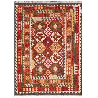 Herat Oriental Afghan Hand-woven Tribal Wool Kilim (5'7 x 7'8)