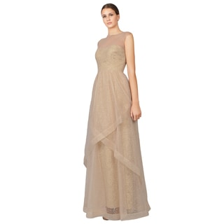 Rickie Freeman Teri Jon Women's Champagne Swiss Dot Tulle Illusion Evening Gown