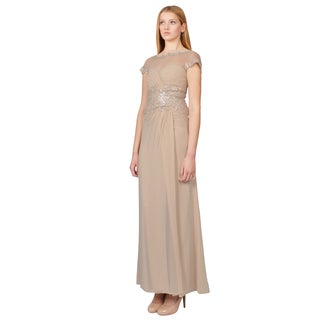Tadashi Shoji Women's Latte Pintucked Pleated Sequin Formal Evening Gown