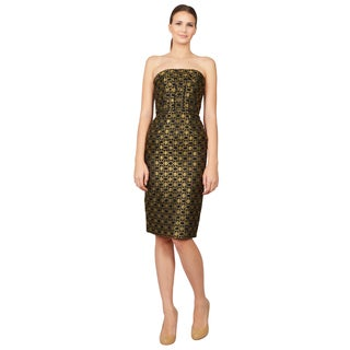 Alexander McQueen Gold Honeycomb Lace Corset Cocktail Dress