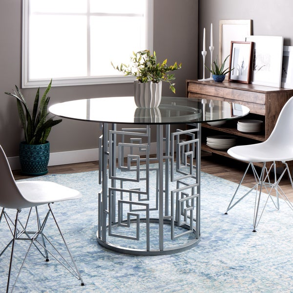 Greek Key Silver Dining Table - Free Shipping Today - Overstock ...