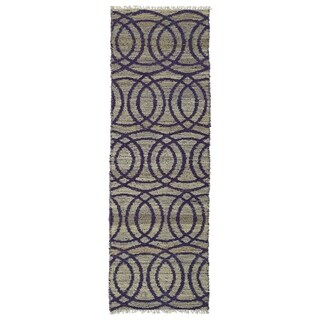 Handmade Natural Fiber Cayon Purple Circles Rug (2'0 x 6'0)