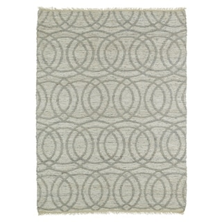 Handmade Natural Fiber Canyon Grey Circles Rug (8'0 x 11'0)