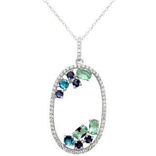 Sterling Silver Multi-Color Cubic Zirconia Oval Pendant Necklace