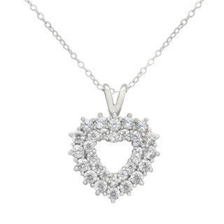 Sterling Silver Cubic Zirconia Heart Pendant Necklace