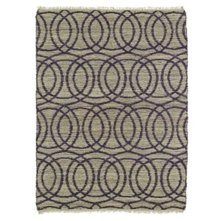 Handmade Natural Fiber Cayon Purple Circles Rug (7'6 x 9'0)
