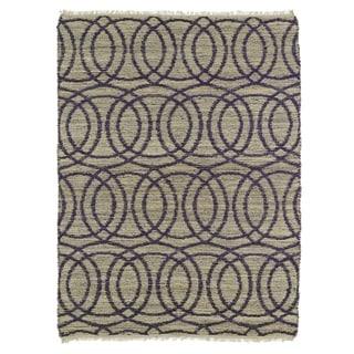 Handmade Natural Fiber Cayon Purple Circles Rug - 2' x 3'