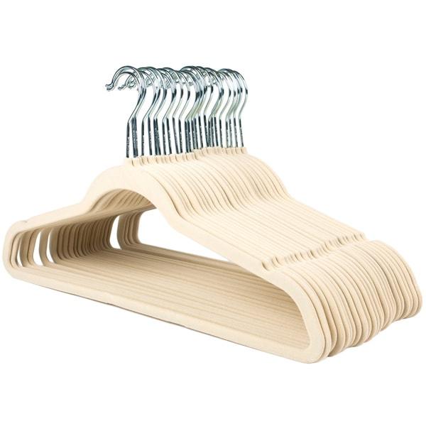 Ultra Thin No Slip Ivory Velvet Suit Hanger (Set of 25)