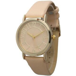 Olivia Pratt Women's Gold Dial Leather Strap Watch