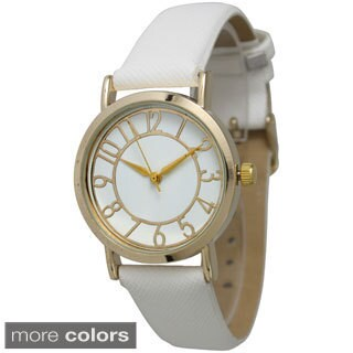 Olivia Pratt Women's Gold Dial Leather Strap Watch|https://ak1.ostkcdn.com/images/products/9915457/P17073195.jpg?_ostk_perf_=percv&impolicy=medium
