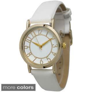 Olivia Pratt Women's Gold Dial Leather Strap Watch|https://ak1.ostkcdn.com/images/products/9915457/P17073195.jpg?impolicy=medium
