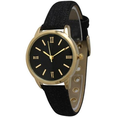 Olivia Pratt Women's Denim Leather Band Watch