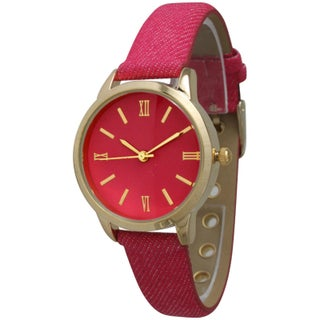 Olivia Pratt Women's Denim Leather Watch