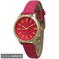 Olivia Pratt Women's Denim Leather Watch