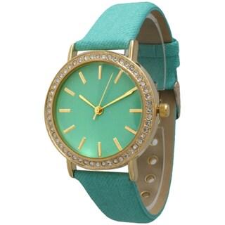 Olivia Pratt Women's Denim Rhinestone Leather Strap Watch (3 options available)