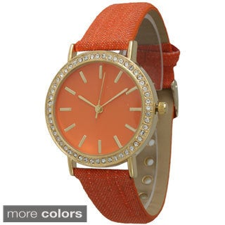Olivia Pratt Women's Denim Rhinestone Leather Strap Watch
