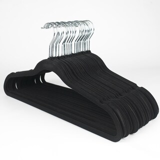 Ultra Thin Black No Slip Velvet Suit Hanger (Set of 25)