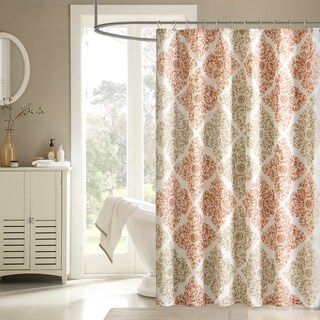 """The Curated Nomad Lyon Geometric Shower Cutain (Option: 72 x 72"""" - Spice)"""