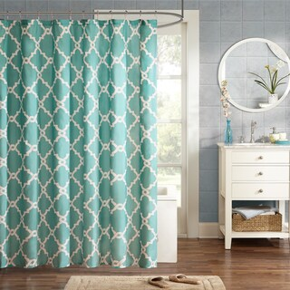 "Clay Alder Home Niantic Blue Chevron Shower Curtain (Option: 72 x 72"" - Aqua)"