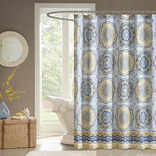 "Madison Park Moraga Shower Curtain (Option: 72x72""-Blue)"