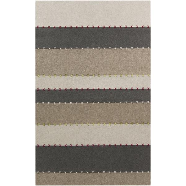 Handmade Leet Stripe Pattern Wool Rug (8' x 11')