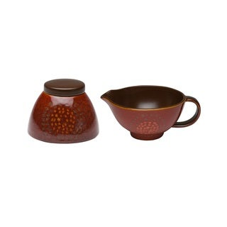 Red Vanilla Organic Brown 2-piece Covered Sugar Bowl and Creamer Set