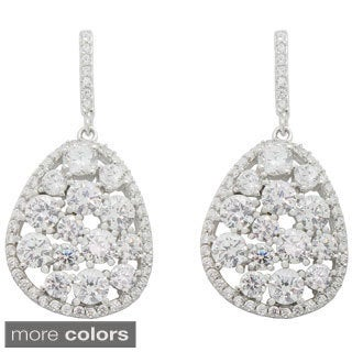 Sterling Silver Multi Round-Cut Cubic Zirconia Dangle Earrings