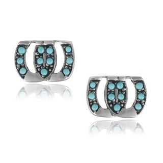 Journee Collection Sterling Silver Turquoise Horseshoe Stud Earrings