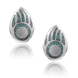 Journee Collection Sterling Silver Handcrafted Bear Paw Turquoise Stud Earrings