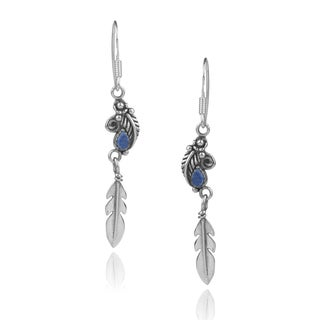 Journee Collection Sterling Silver Gemstone Handcrafted Dangle Earrings