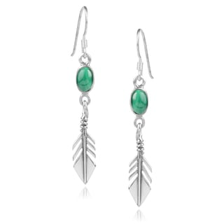 Journee Collection Sterling Silver Malachite Handcrafted Dangle Earrings