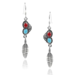Journee Collection Sterling Silver Turquoise Handcrafted Dangle Earrings
