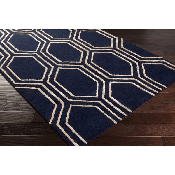 Hand-Tufted Herman Geometric Pattern Viscose Area Rug (5' x 7'6)