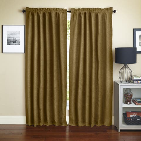 Blazing Needles Champagne Jacquard Chenille Curtain Panels (Set of 2)