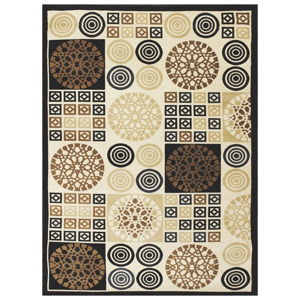 LYKE Home McKayla Black Geometric Area Rug (8' x 11')