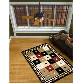 LYKE Home McKayla Black Geometric Area Rug (5' x 8')