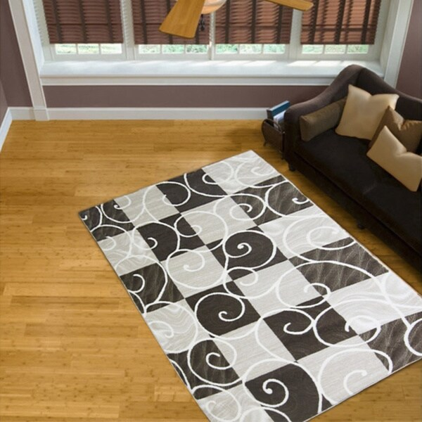 LYKE Home Audrey Brown Geometric Area Rug - 8' x 11'