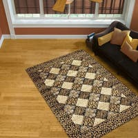 LYKE Home Audrey Gold Geometric Area Rug