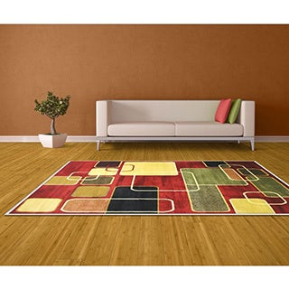 LYKE Home Prism Red Square Area Rug (8' x 10')