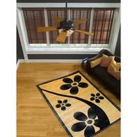 LYKE Home Isabela Blue Floral Area Rug (4' x 6')