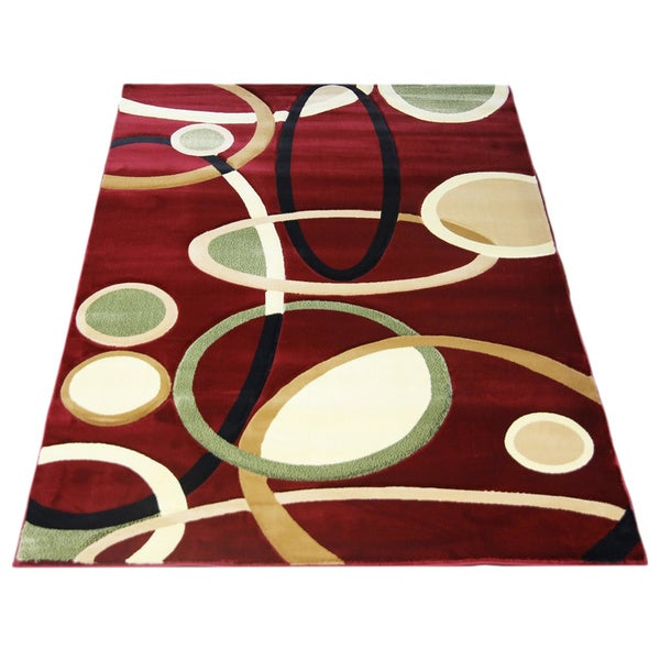 LYKE Home Rosalie Red Area Rug (5' x 8') - 5'3 x 7'5