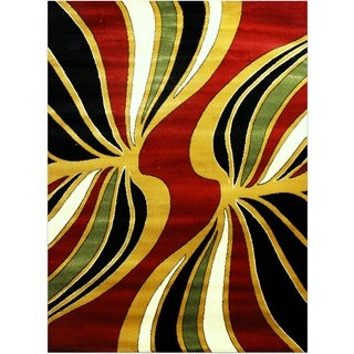 LYKE Home Prism Red/ Gold Area Rug (5' x 8')