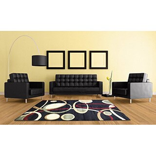 LYKE Home Rosa Contemporary Black Area Rug (5' x 8')