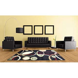 LYKE Home Rosa Contemporary Black Area Rug (4' x 6')