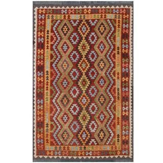 Herat Oriental Afghan Hand-woven Tribal Kilim Red/ Gold Wool Rug (6'5 x 9'8)
